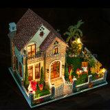 2017 Dollhouse игрушки DIY головоломки Новый Год 3D деревянный с домом влюбленности наилучших пожеланий мебели