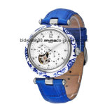 Automatic Mechanical Tourbillon Esqueleto Moon Phase Brown Leather Mens Sport Watch