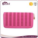 Monedero de cuero de la carpeta de las mujeres de la PU del color del estilo rosado de la cremallera
