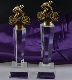 Mestiere a cristallo del premio del trofeo della bicicletta del metallo in bianco