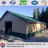 Construcción de acero del marco porta prefabricado para el taller con la oficina