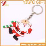 I regali del ricordo comerciano l'anello all'ingrosso chiave di gomma del PVC Keychain del keychain 3D di natale