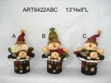 Regalo -3asst de la Navidad del muñeco de nieve de Santa del sombrero superior