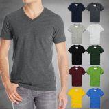 Le T-shirt de V-Collet d'Amorce-Chemise des hommes solides de coton
