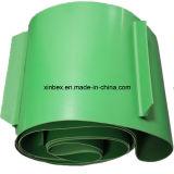 클리트 단면도를 가진 PVC 녹색 매트 또는 빛나는 컨베이어 벨트