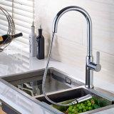 台所はスプレーの真鍮の水栓を引き出す