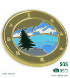 Forma redonda da cor do ouro com a moeda personalizada da lembrança de Enamle do projeto