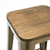 Simplesmente tamborete industrial do contador da barra de Tolix do metal do estilo com assento de madeira (SP-MC037W)