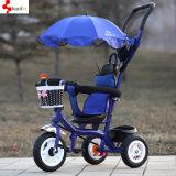4 in 1 triciclo del bambino della sede di Roating con il pedale, triciclo del bambino della rotella di EVA, buon bambino Trike della gomma dell'aria