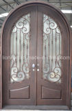 Puerta de entrada de encargo del frente de la parrilla del hierro labrado de la seguridad hermosa