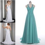 A - линия/платье выпускного вечера Princess Halter Шеи Пол-Длины Шифоновый с поездом Flowy