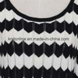 숙녀의 후비는 물건 구멍은 줄무늬로 한 버전 지그재그와 Intarsia 디자인 스웨터 복장을 분실한다