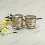 De ronde Kruik van de Room van de Reeks 50g roze-Gouden Acryl voor Kosmetische Verpakking (ppc-acj-094)