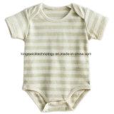 新生の短い袖は100%の夏のための卸し売り一つのロンパースのBodysuitに着せている有機性綿の赤ん坊を縞で飾った