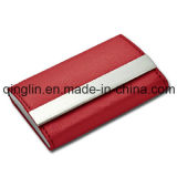 Überlegenes Quality Fashion Leather und Edelstahl Name Card Fall (QL-MPH-0008)