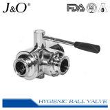 Válvula de esfera tripartido sanitária da braçadeira do aço inoxidável