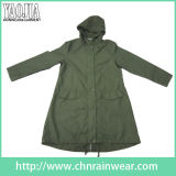 Army Green PVC Coating Ladies Raincoat with New Product