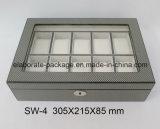 Contenitore di vigilanza di legno di lusso della finestra di vetro delle 10 scanalature