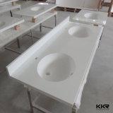 Dessus extérieurs solides personnalisés de vanité de salle de bains avec des bassins