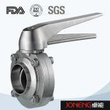 Het Sanitaire Van een flens voorzien Eind van het roestvrij staal de Vleugelklep van 3 Stuk (Jn-BV3001)