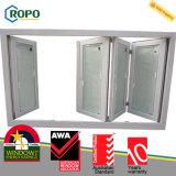 Anti plástico da segurança UPVC/PVC do roubo que desliza a porta de vidro de dobramento