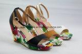 Флористические сделанные по образцу ботинки женщин сандалии способа высокой пятки