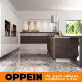 Cabina de cocina de madera de lujo moderna con la isla superficial sinterizada natural (OP16-L22)