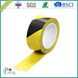Fita de advertência do PE dobro das cores (preto amarelo) para etapas de advertência