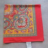 Baumwolle gedruckter rote Schal-kleiner Quadrat-Schal