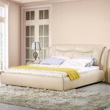 Lederfarbenes beige Farben-Leder-weiches Bett für Schlafzimmer-Gebrauch (FB2102)