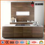 El panel compuesto de aluminio interior ACP de madera de Ideabond Ae-303 con precio el bueno (para la cocina)