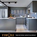 Fingerpullのオーストラリアの建物Tivo-0009Vのための島が付いている白い食器棚