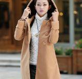 Шинели кашемира повелительниц корейского варианта с капюшоном теплые