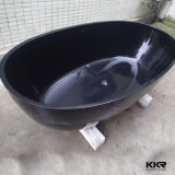 Vasca da bagno diritta libera del nero rotondo della pietra della resina di alta qualità