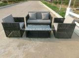 4 parties de conversation de sofa de meubles extérieurs de rotin réglé