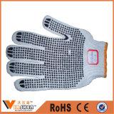 산업 물방울 무늬 면 끈에 의하여 뜨개질을 하는 안전 장갑