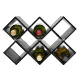Pino libre con el estante de cuero del almacenaje del estante 8-Bottle del vino