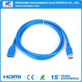 Macho azul do cabo do USB da extensão da fábrica à fêmea