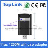 11AC 2t2r 1200Mbps haute vitesse 2.4G / 5.8g USB 3.0 Wireless WiFi Dongle / WiFi Adaptateur avec deux antennes externes