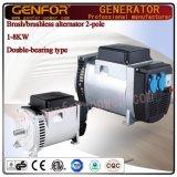 Doble-Rodamiento caliente Alterantor de la venta 5kVA con la carga de la batería del cepillo AVR, eléctrica
