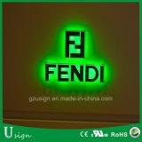 Carta de canal puesta a contraluz color verde del LED
