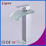 Кран смесителя Wasserhahn воды латунного Faucet тазика мытья ванной комнаты ручки стеклянного квадратного Spout цвета тела Fyeer высоким покрынный кромом одиночный