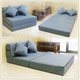 3部分の変換可能なソファのソファーベッドの居間の寮ファブリック家具の眠る人