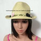 100% del sombrero de paja, estilo de la manera de señora con las flores