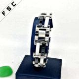 Weißer und schwarzer keramischer Edelstahl-kundenspezifisches Armband für Jungen