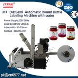 Máquina de etiquetas semiautomática do frasco redondo com codificador (MT-50B)