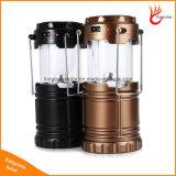 고품질 6 LED 손 램프 옥외 점화를 위한 재충전용 접을 수 있는 태양 야영 손전등 천막 빛