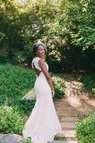 Платья венчания Z1060 Tulle шнурка Mermaid мантий длинних втулок Bridal