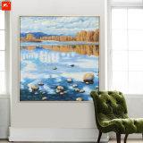 秋の落下landscape湖の景色の油絵
