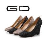 Gdshoeの女性優雅なウェッジのきらめきの働き靴